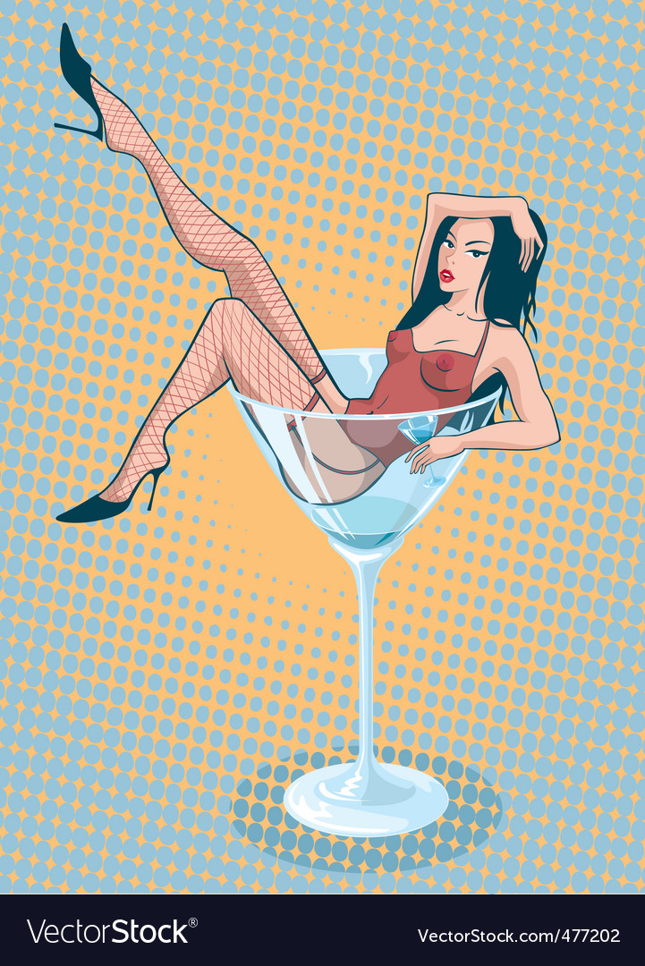 Martini girl vector | Price: 3 Credit (USD $3)