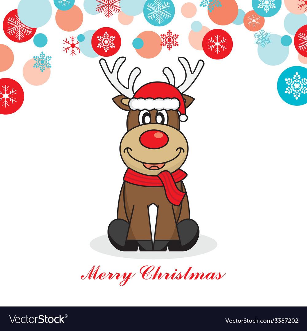 Reindeer dressed as santa vector