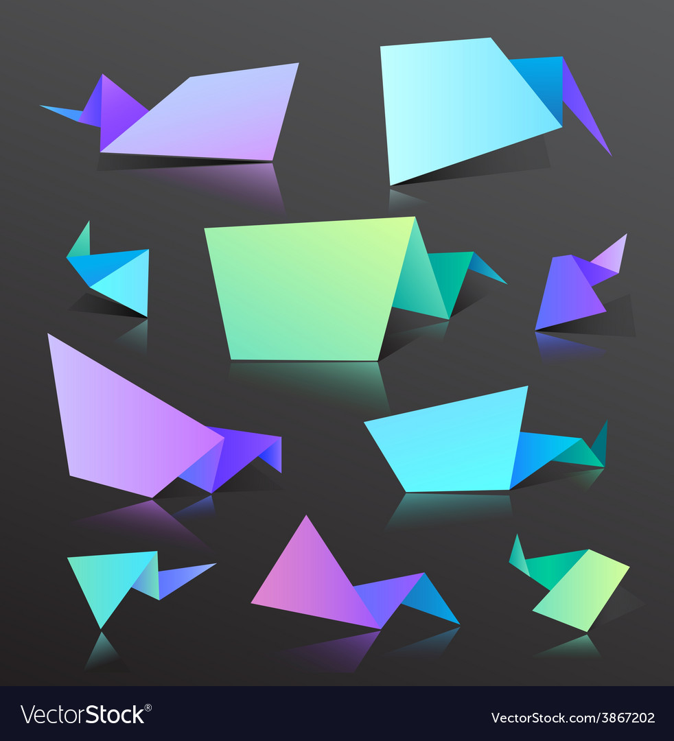 Set of colorful origami bubbles isolated vector | Price: 1 Credit (USD $1)