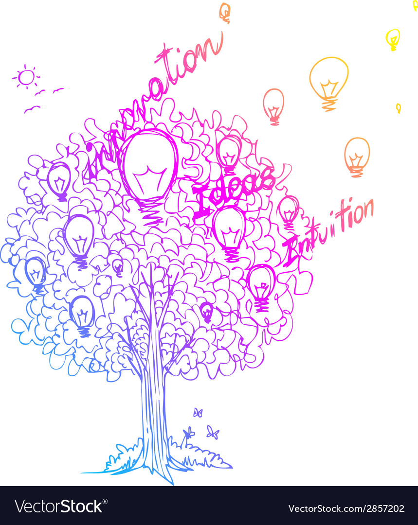 The tree of ideas decorated with light bulbs vector | Price: 1 Credit (USD $1)