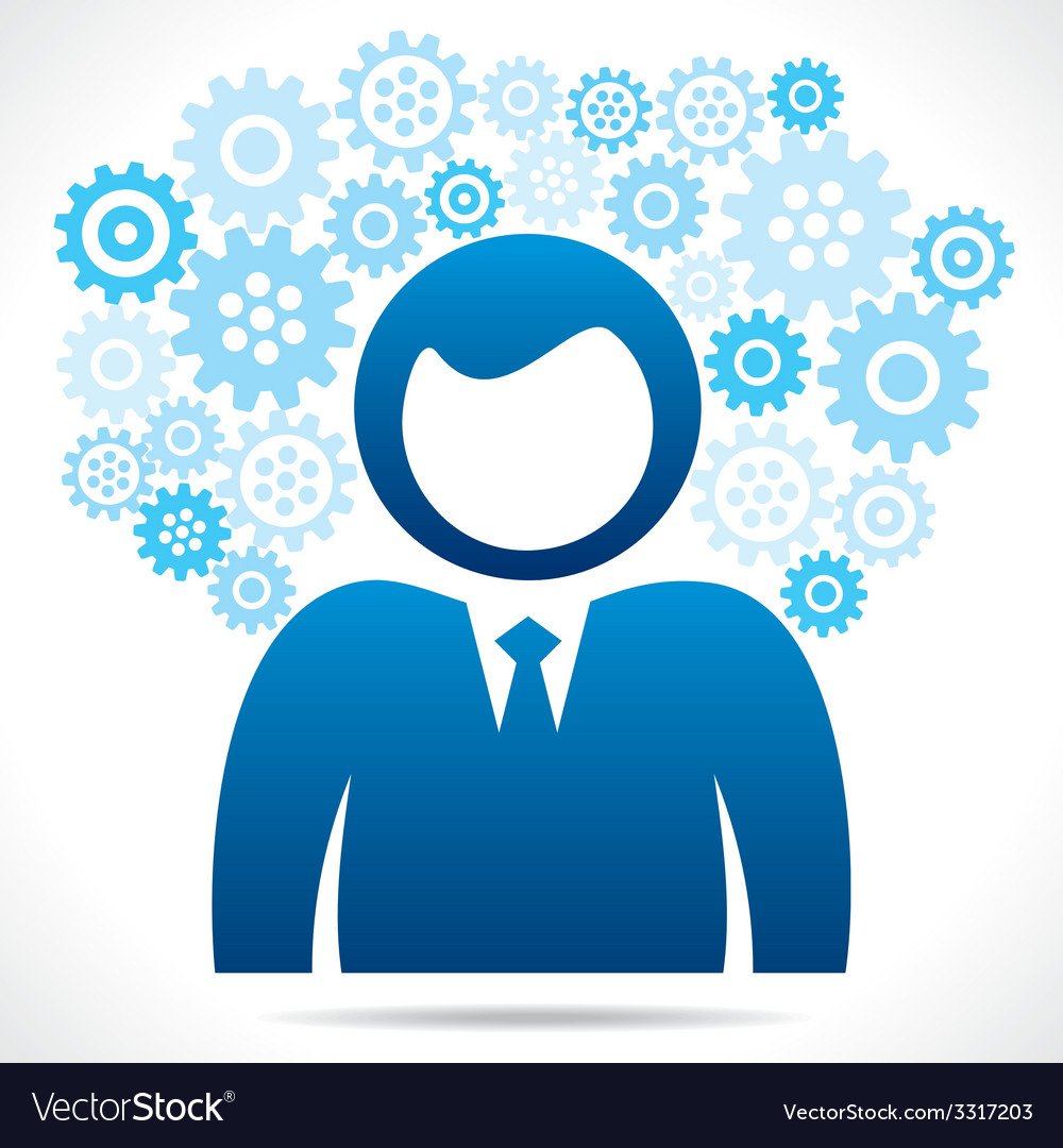 Businessmen with blue gear vector | Price: 1 Credit (USD $1)
