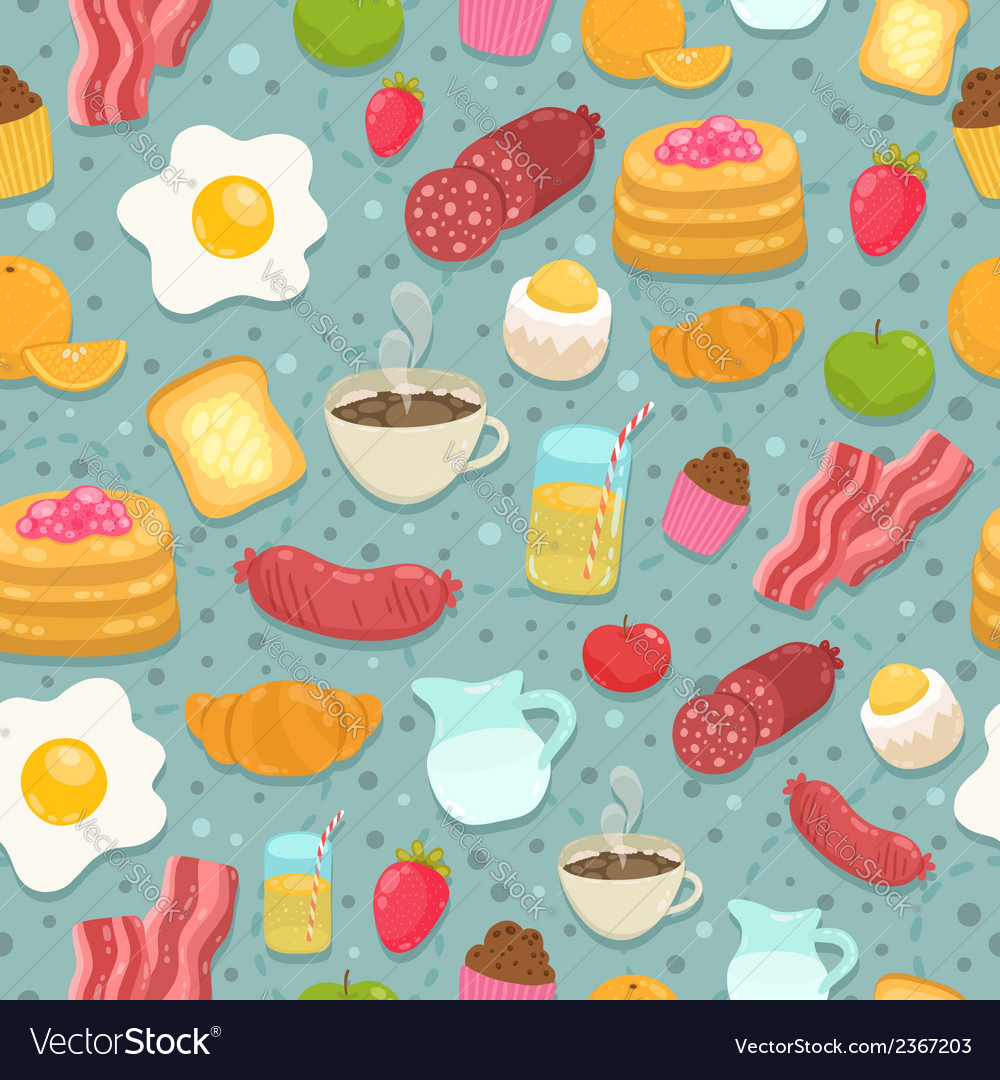 Cute seamless pattern with breakfast food vector | Price: 1 Credit (USD $1)