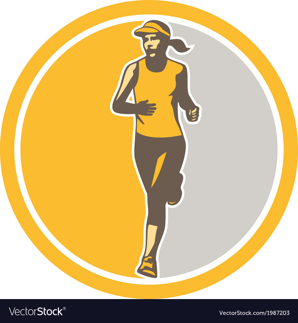 Female triathlete marathon runner circle retro vector | Price: 1 Credit (USD $1)
