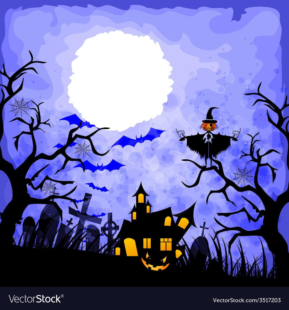 Halloween blue background vector | Price: 1 Credit (USD $1)