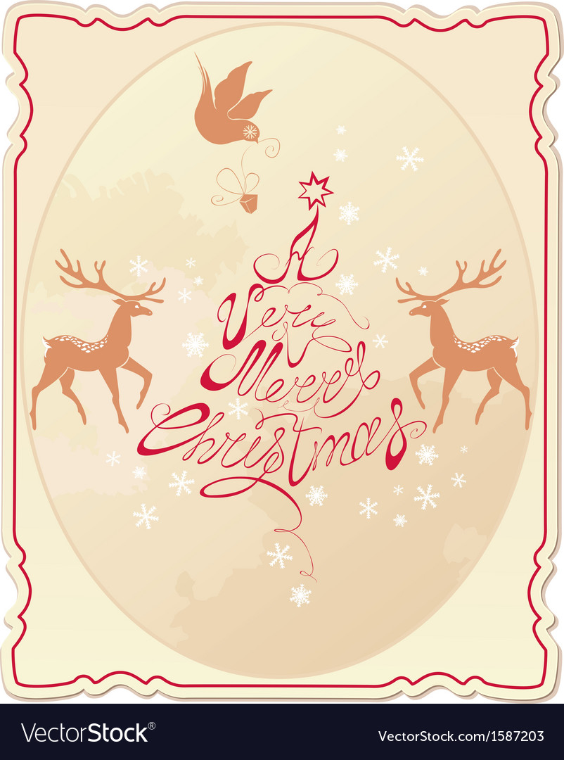 Holiday card with hand written text vector | Price: 1 Credit (USD $1)