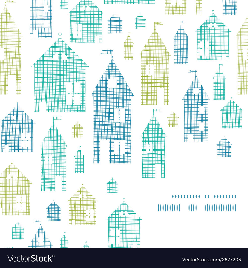 Houses blue green textile texture corner frame vector | Price: 1 Credit (USD $1)