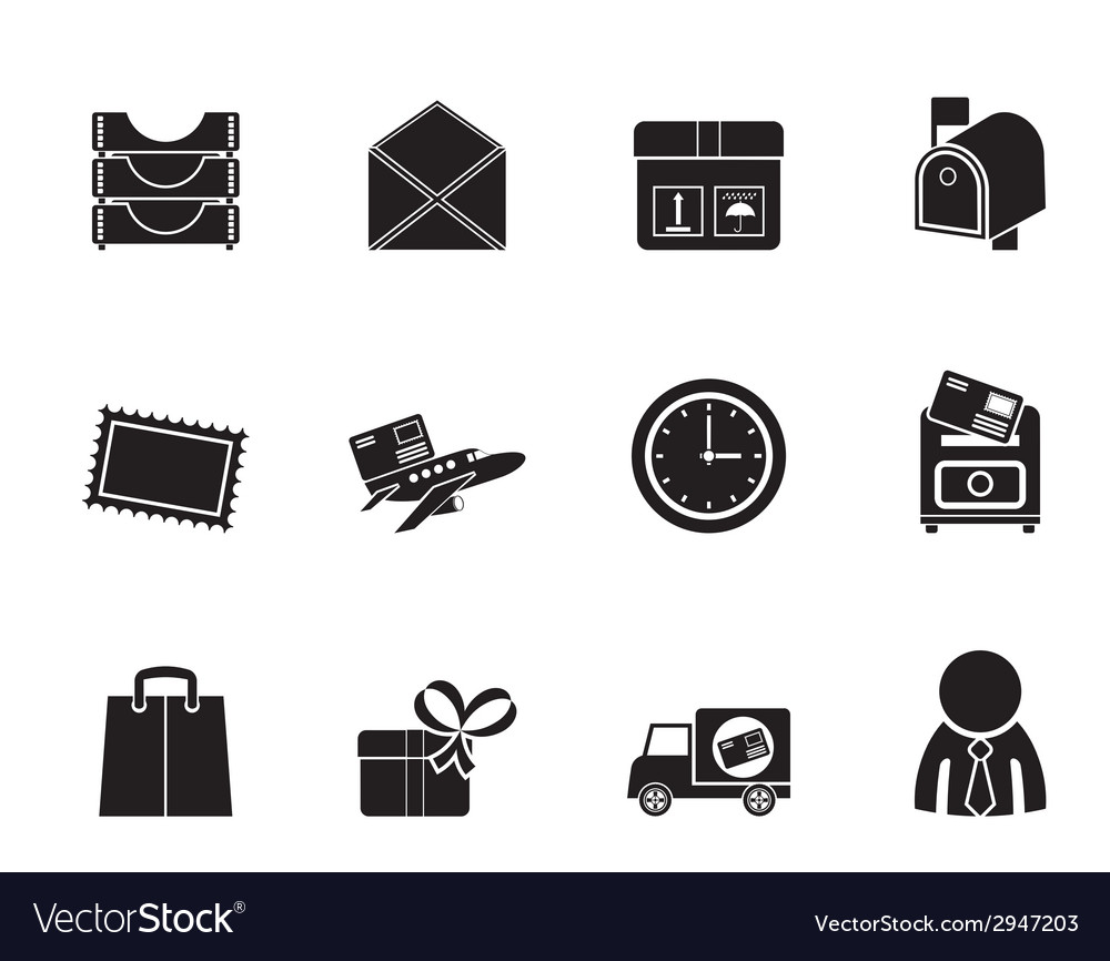 Silhouette post and office icons vector | Price: 1 Credit (USD $1)