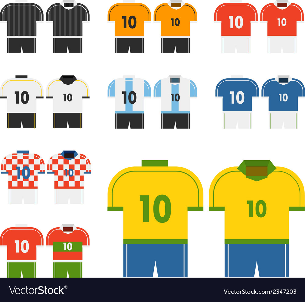 World soccer team t-shirts clip-art vector | Price: 1 Credit (USD $1)