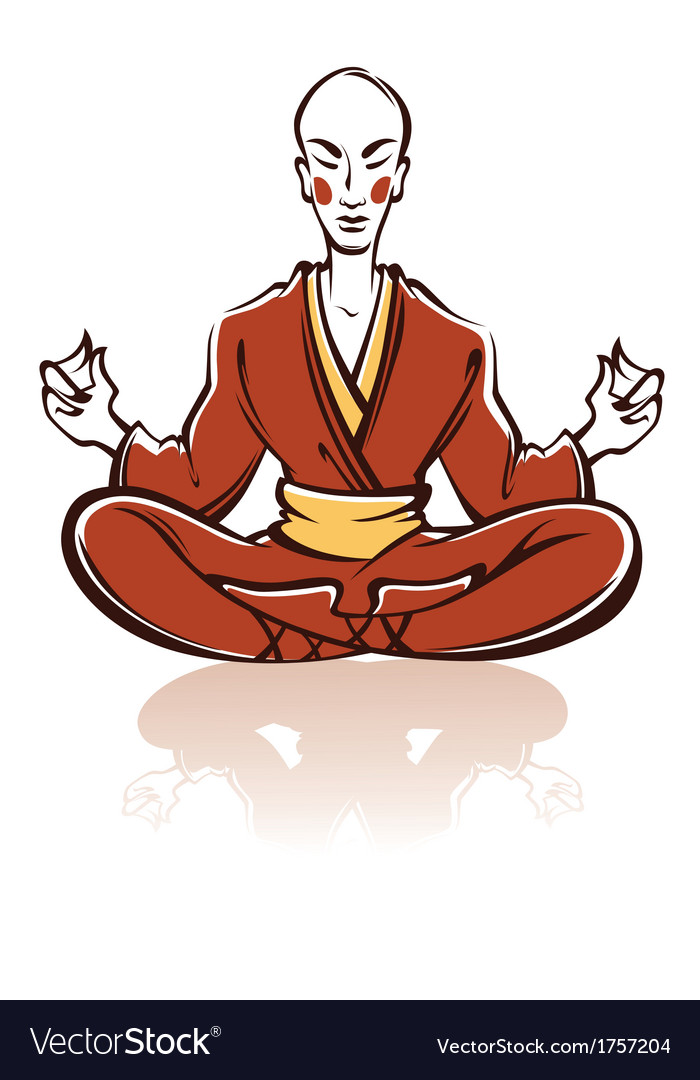 Asian monk vector | Price: 1 Credit (USD $1)