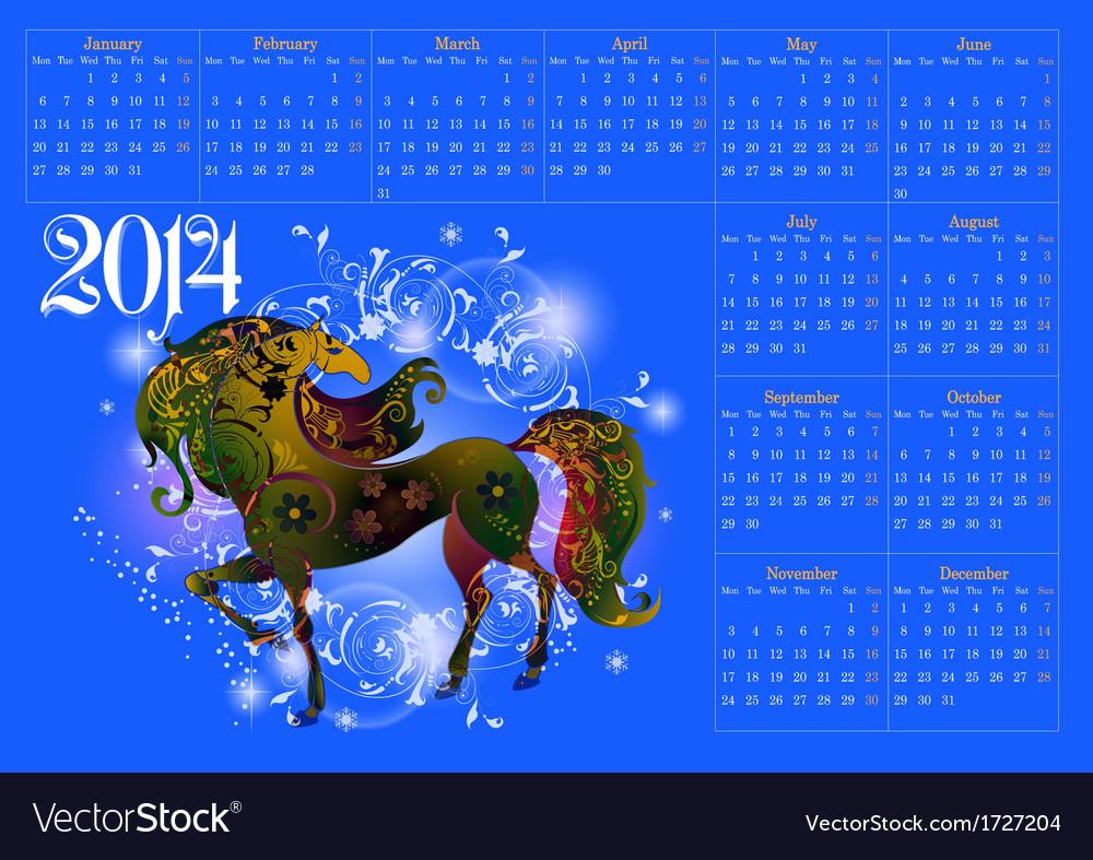 Calendar for 2014 vector | Price: 1 Credit (USD $1)