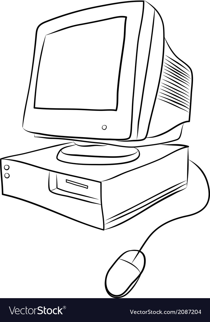 Old desktop computer vector | Price: 1 Credit (USD $1)
