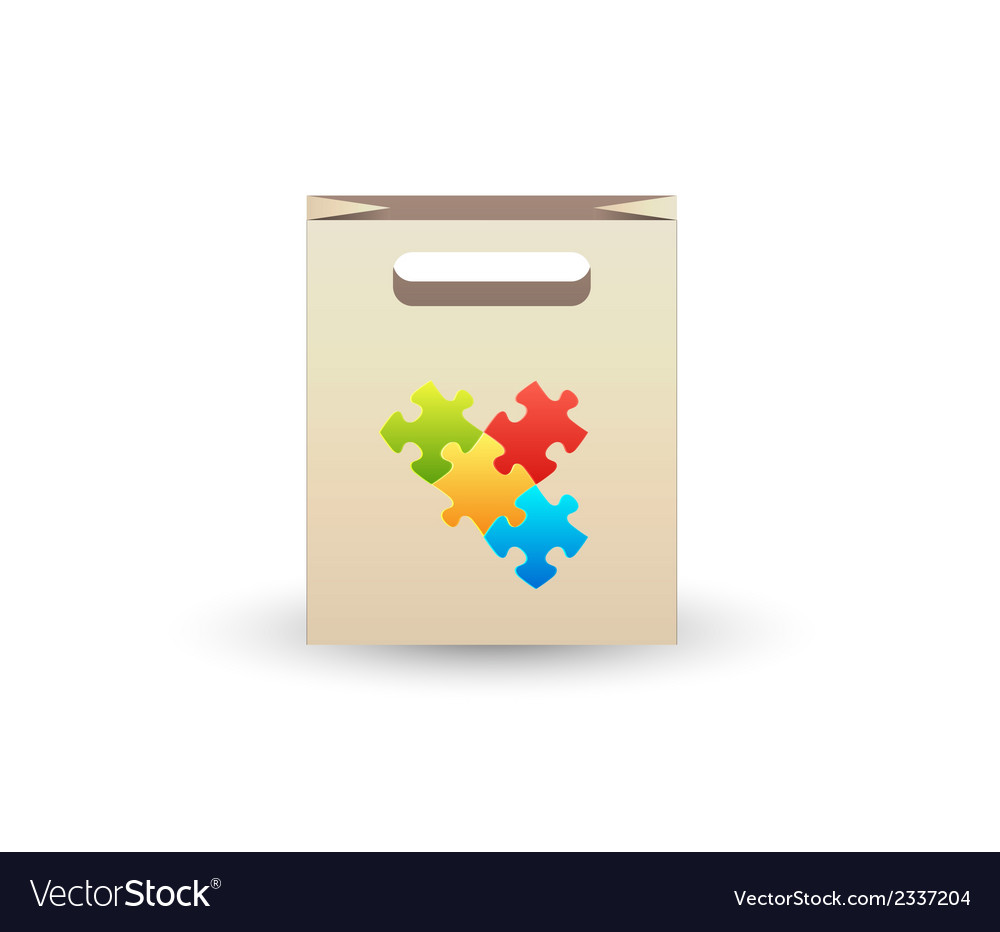 Paper bag with puzzle symbols vector | Price: 1 Credit (USD $1)
