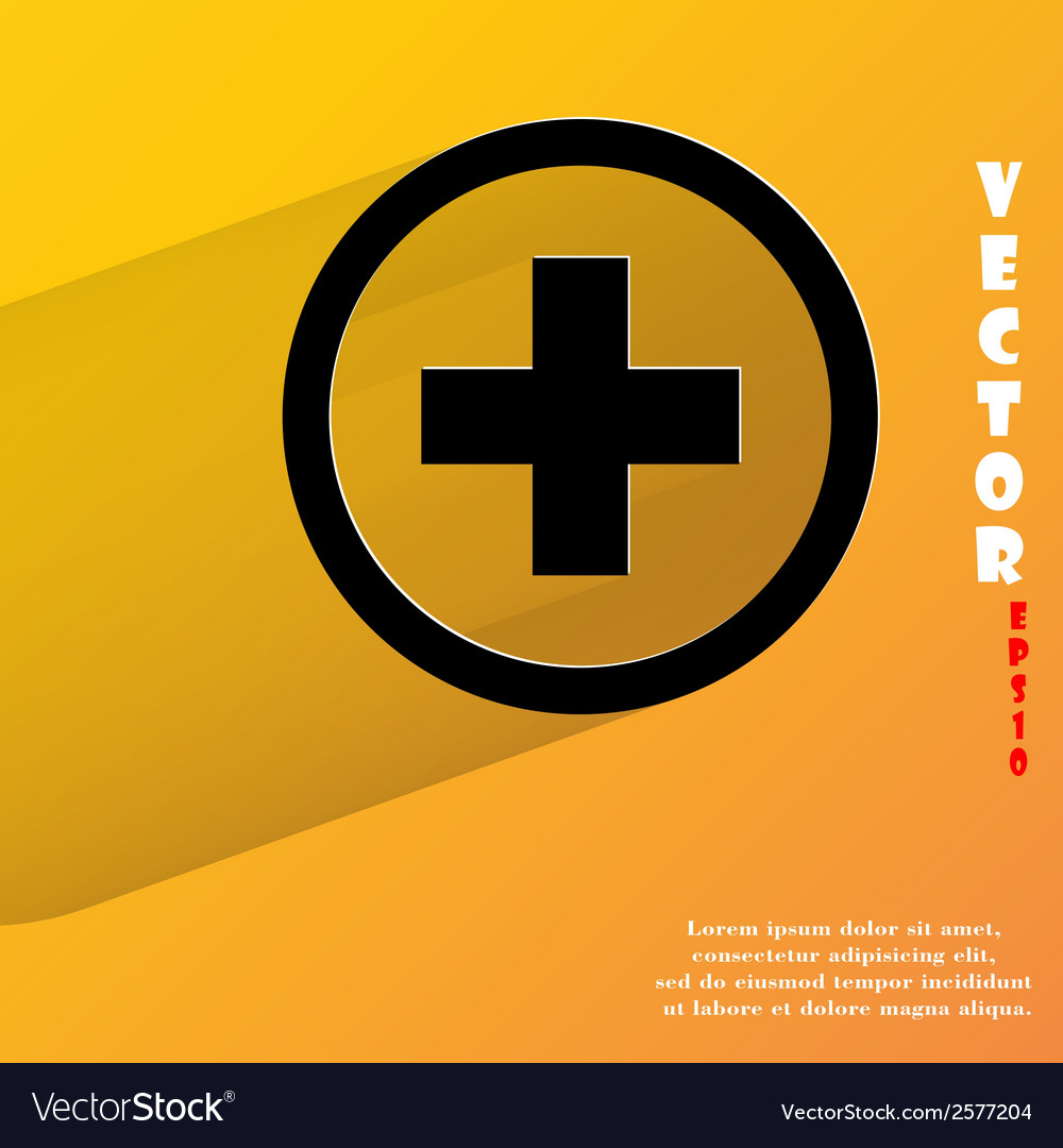 Plus flat modern web button with long shadow and vector | Price: 1 Credit (USD $1)