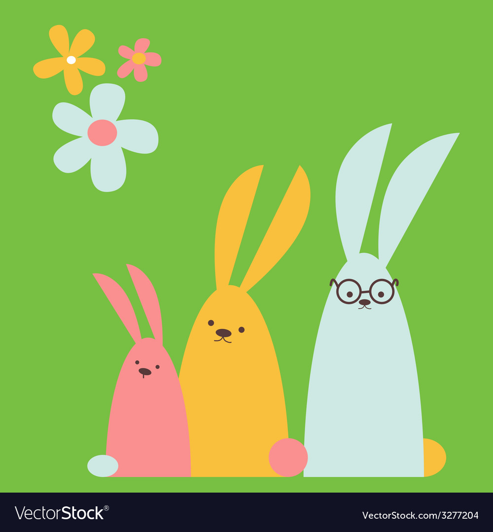 Rabbits family vector | Price: 1 Credit (USD $1)