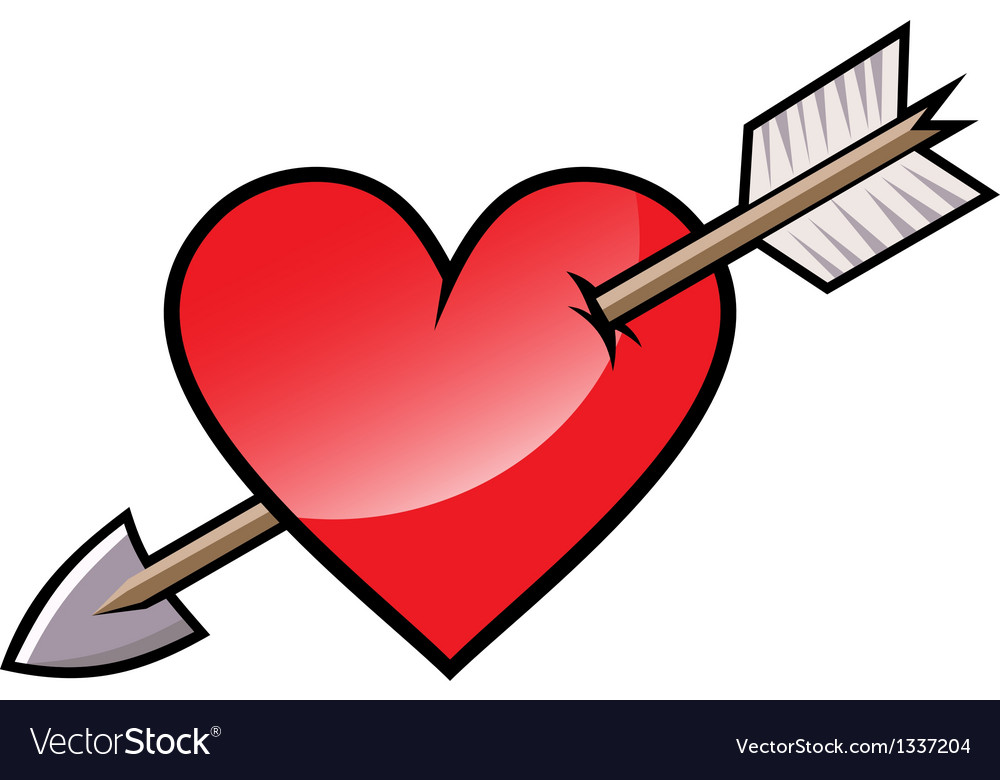 Red heart with arrow vector | Price: 1 Credit (USD $1)