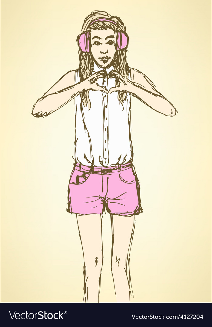 Sketch cute hipster girl in vintage style vector | Price: 1 Credit (USD $1)