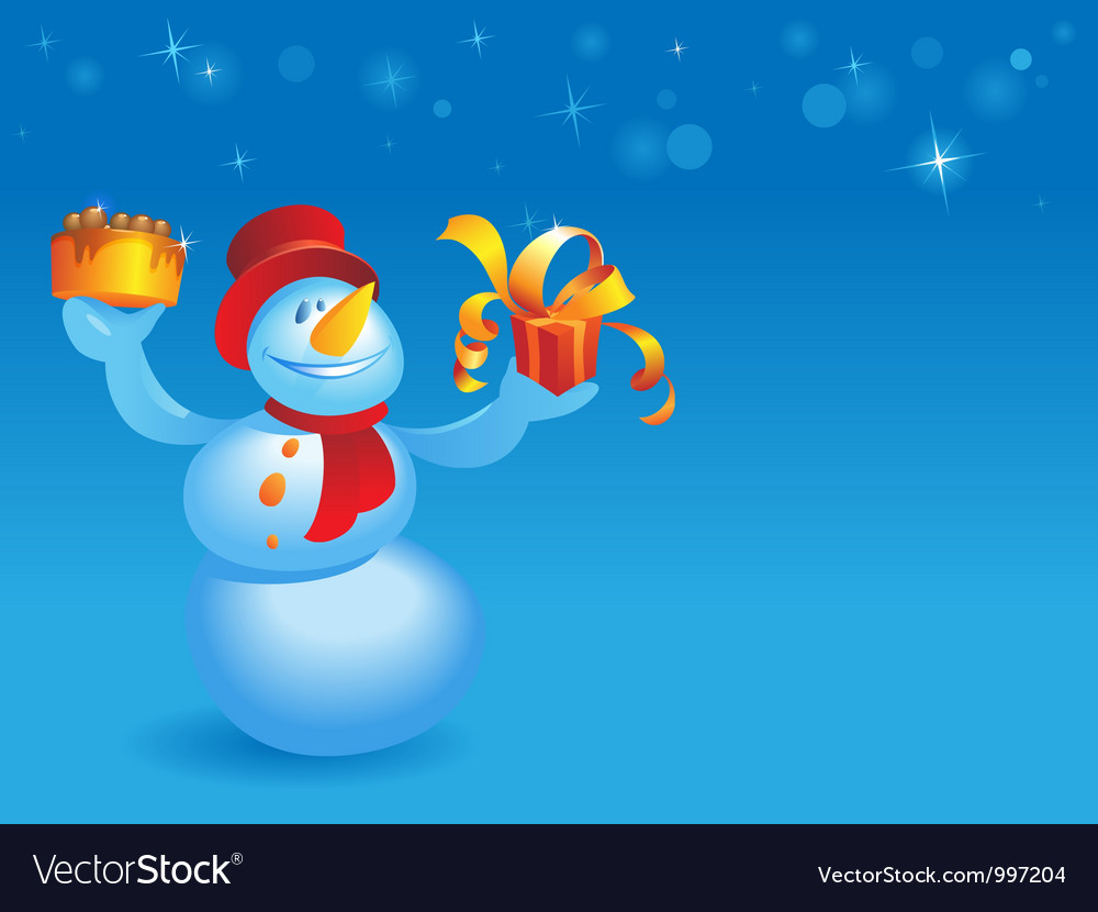 Snowman with cake and gift on blue vector | Price: 1 Credit (USD $1)