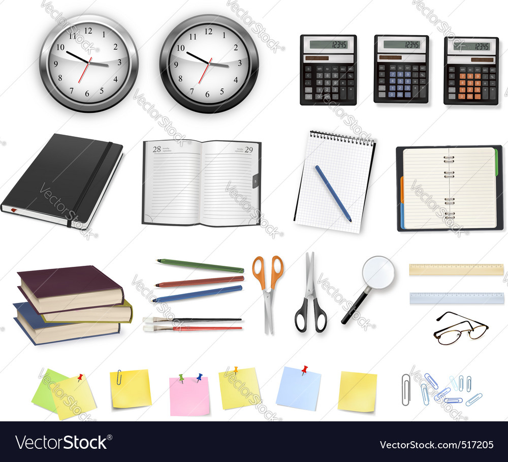 Big set clocks and office supplies vector | Price: 1 Credit (USD $1)
