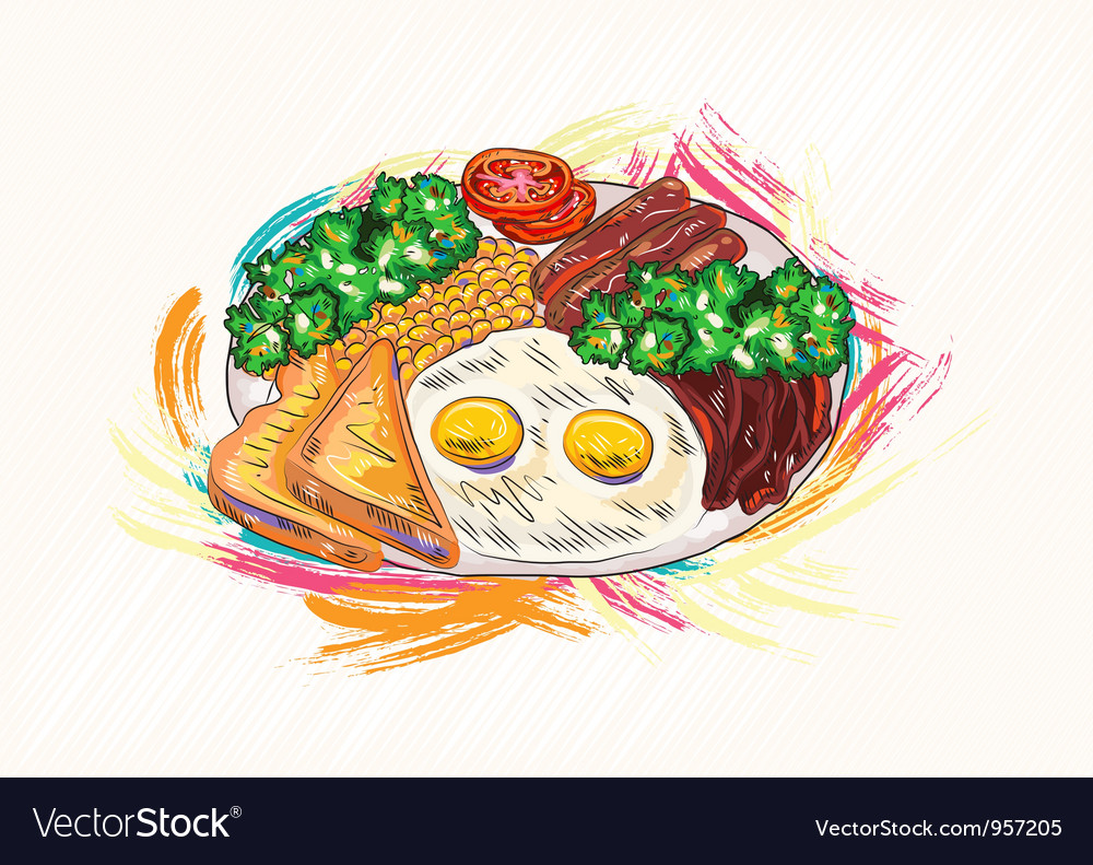 Cooked eggs with vegetables vector | Price: 1 Credit (USD $1)