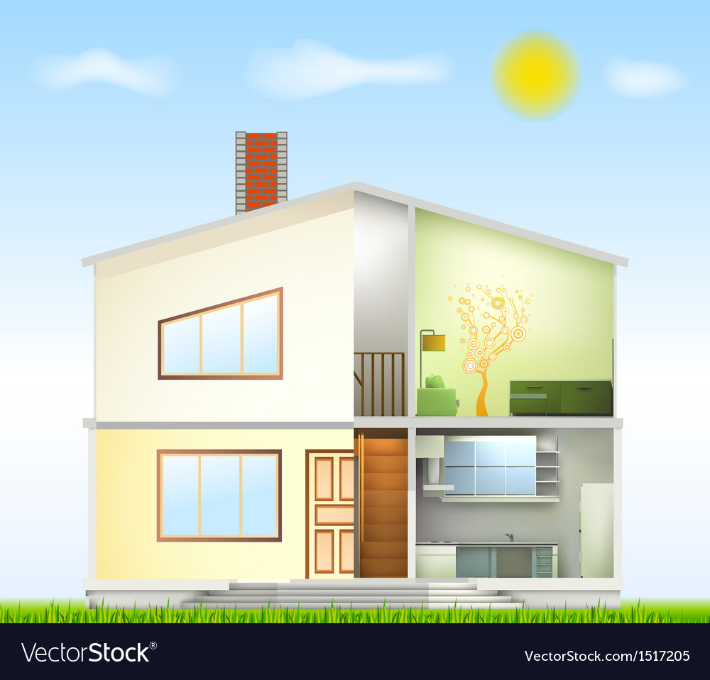 Cut in house interiors and part facade vector | Price: 3 Credit (USD $3)