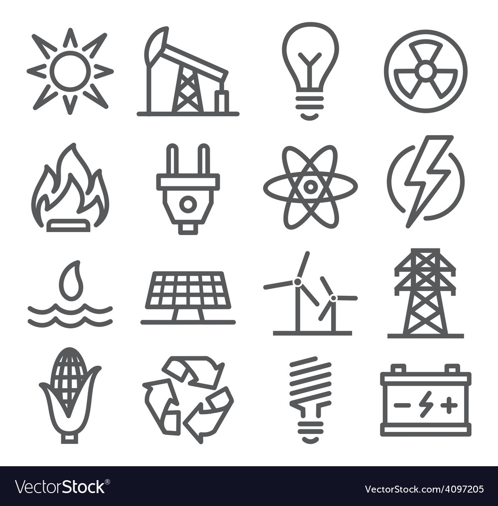 Energy line icons vector | Price: 1 Credit (USD $1)
