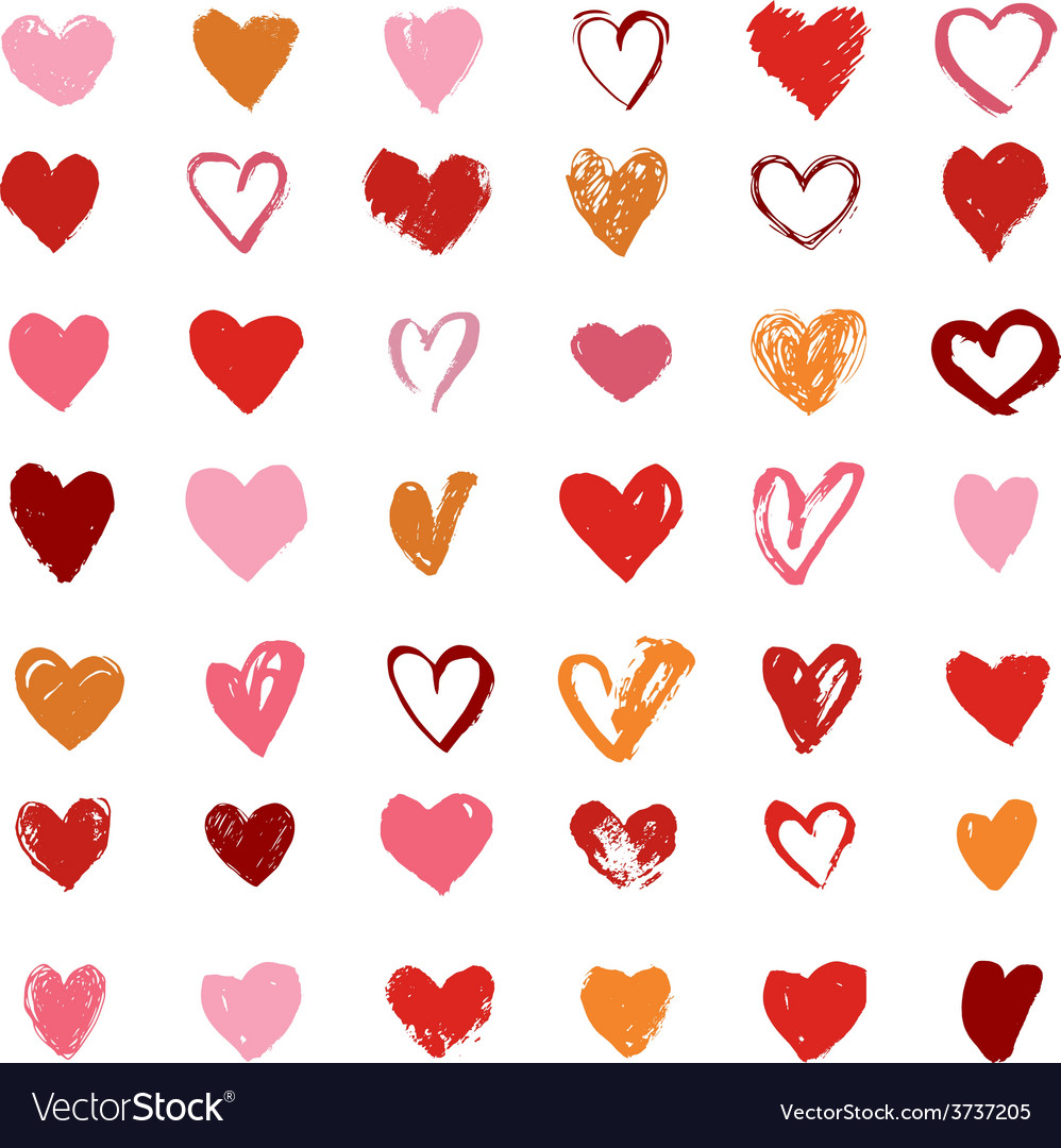 Heart icons set hand drawn icons and vector | Price: 1 Credit (USD $1)
