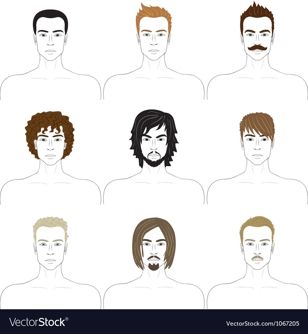 Men faces set vector | Price: 1 Credit (USD $1)