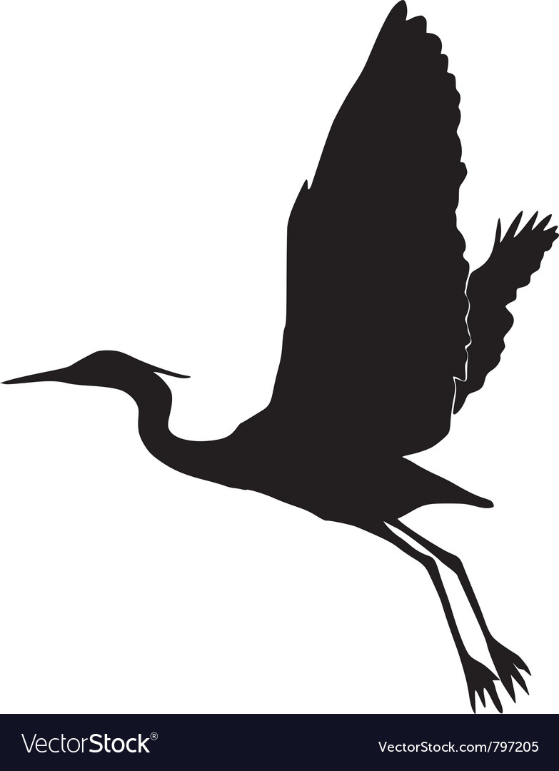 Silhouette of heron vector | Price: 1 Credit (USD $1)