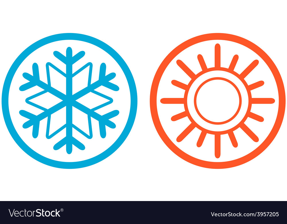 Weather icons with sun and snowflake vector | Price: 1 Credit (USD $1)
