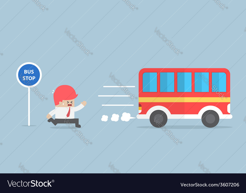 Businessman arriving too late at bus stop vector | Price: 1 Credit (USD $1)
