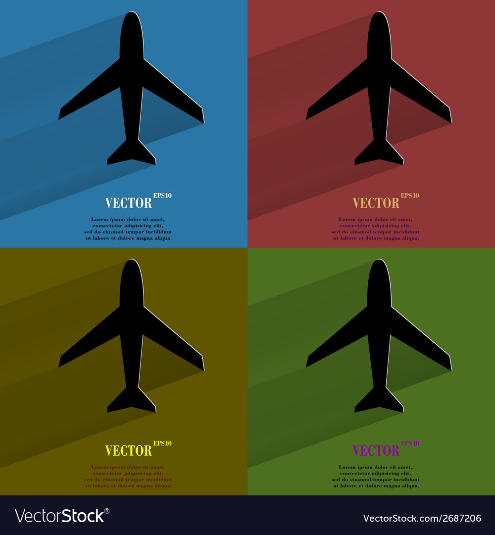 Color set plane  flat modern web button with long vector | Price: 1 Credit (USD $1)