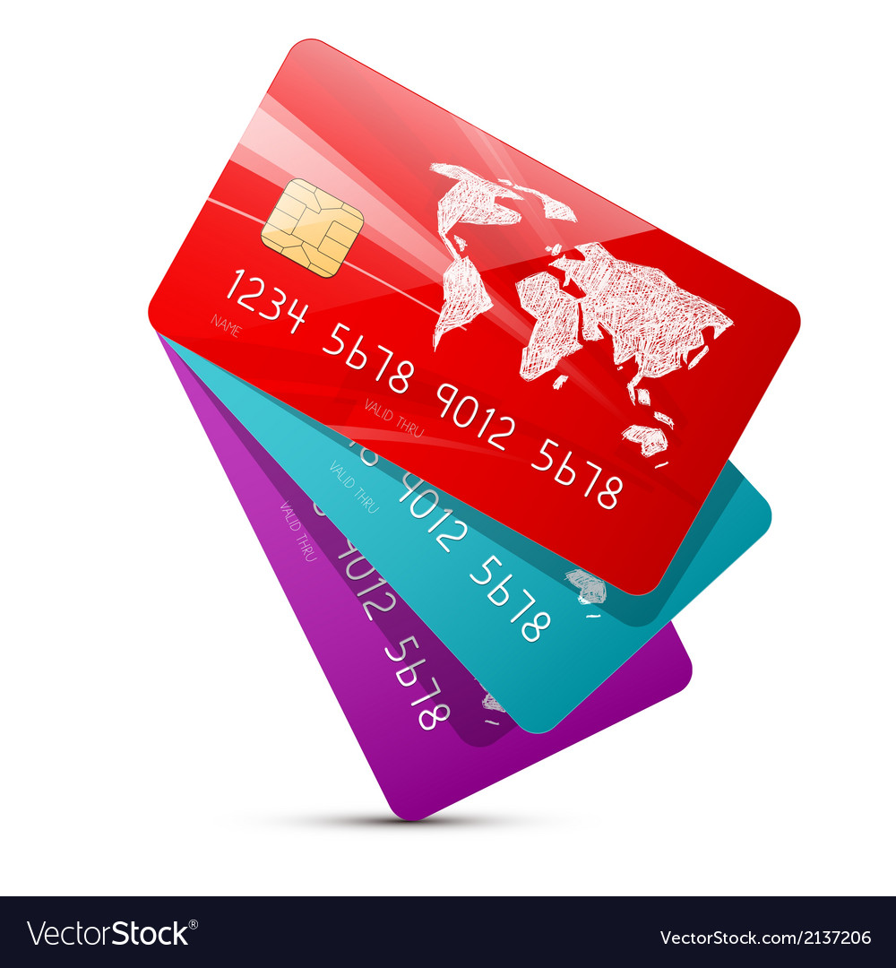 Colorful credit cards set isolated on white vector | Price: 1 Credit (USD $1)