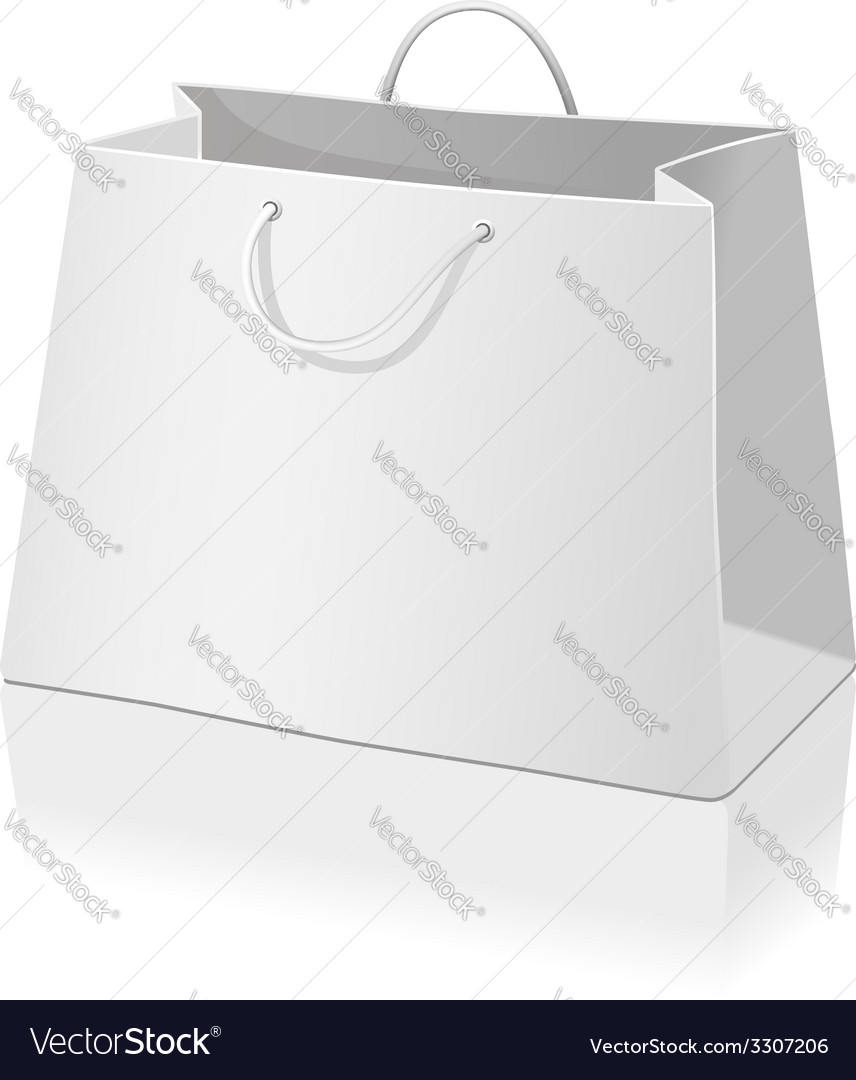 Empty paper shopping bag isolated on white vector | Price: 1 Credit (USD $1)