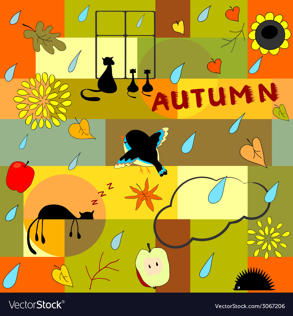 Funny autumn background vector | Price: 1 Credit (USD $1)