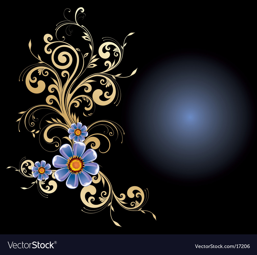 Gold floral design vector | Price: 1 Credit (USD $1)