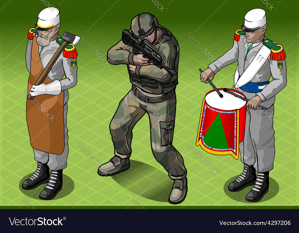 Isometric foreign legion militar people vector | Price: 3 Credit (USD $3)