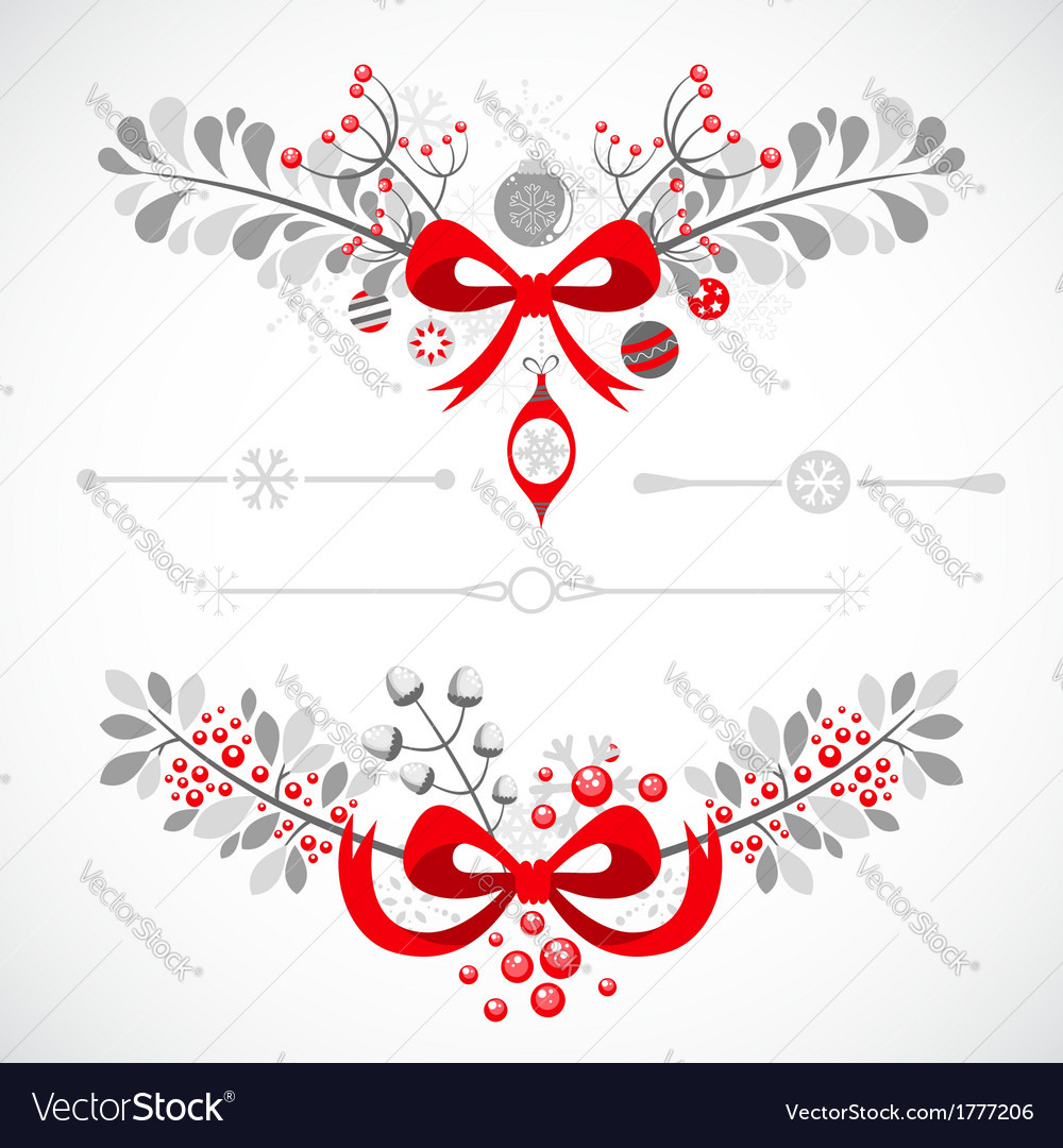 Set of christmas and new year decorative elements vector | Price: 1 Credit (USD $1)