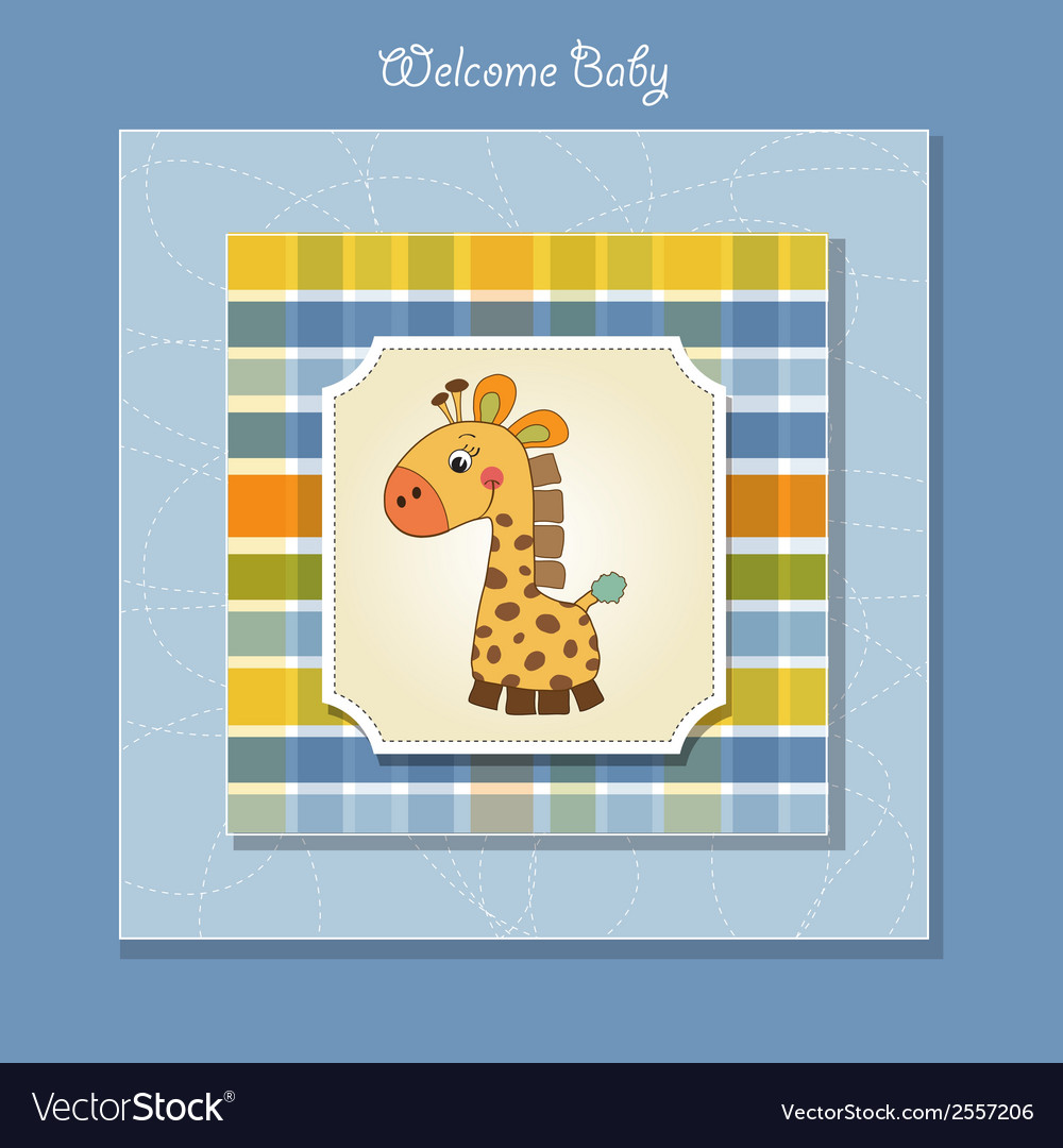 Shower card with giraffe toy vector | Price: 1 Credit (USD $1)