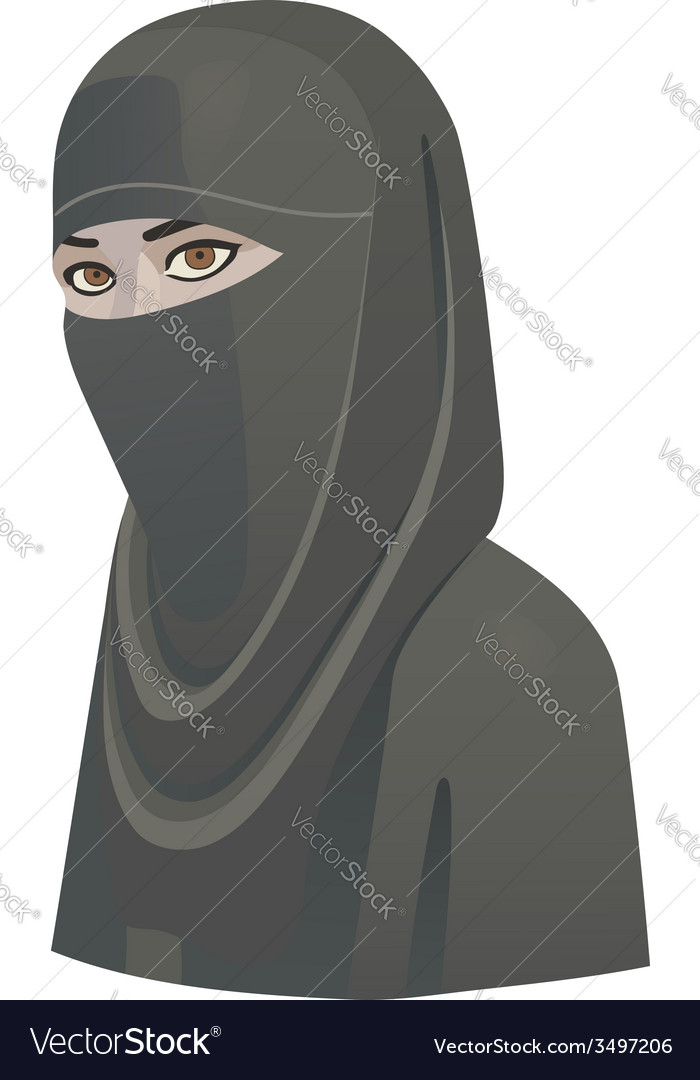 Woman in niqab vector | Price: 1 Credit (USD $1)