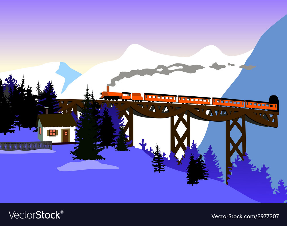 Cristmas train 01 vector | Price: 1 Credit (USD $1)