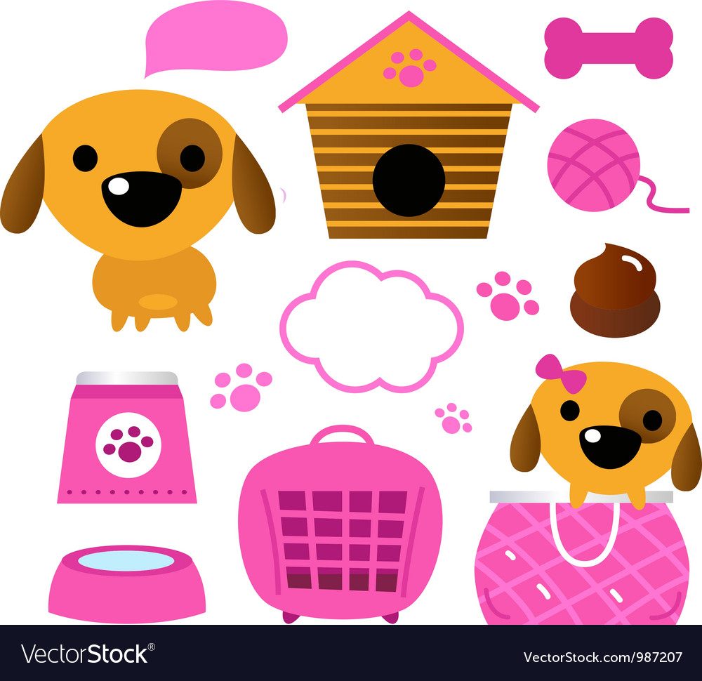 Cute dog accessories collection isolated on white vector | Price: 1 Credit (USD $1)