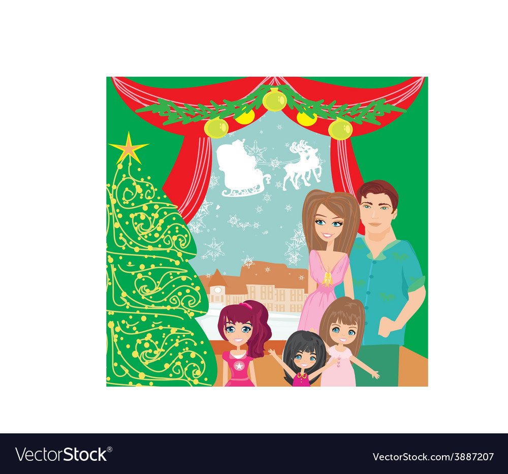 Family christmas at home vector   Price: 1 Credit (USD $1)