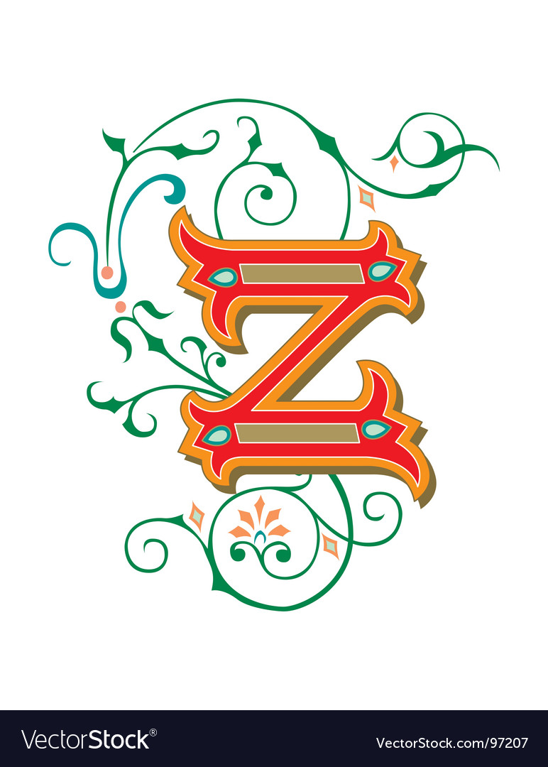 Floral letter z vector | Price: 1 Credit (USD $1)