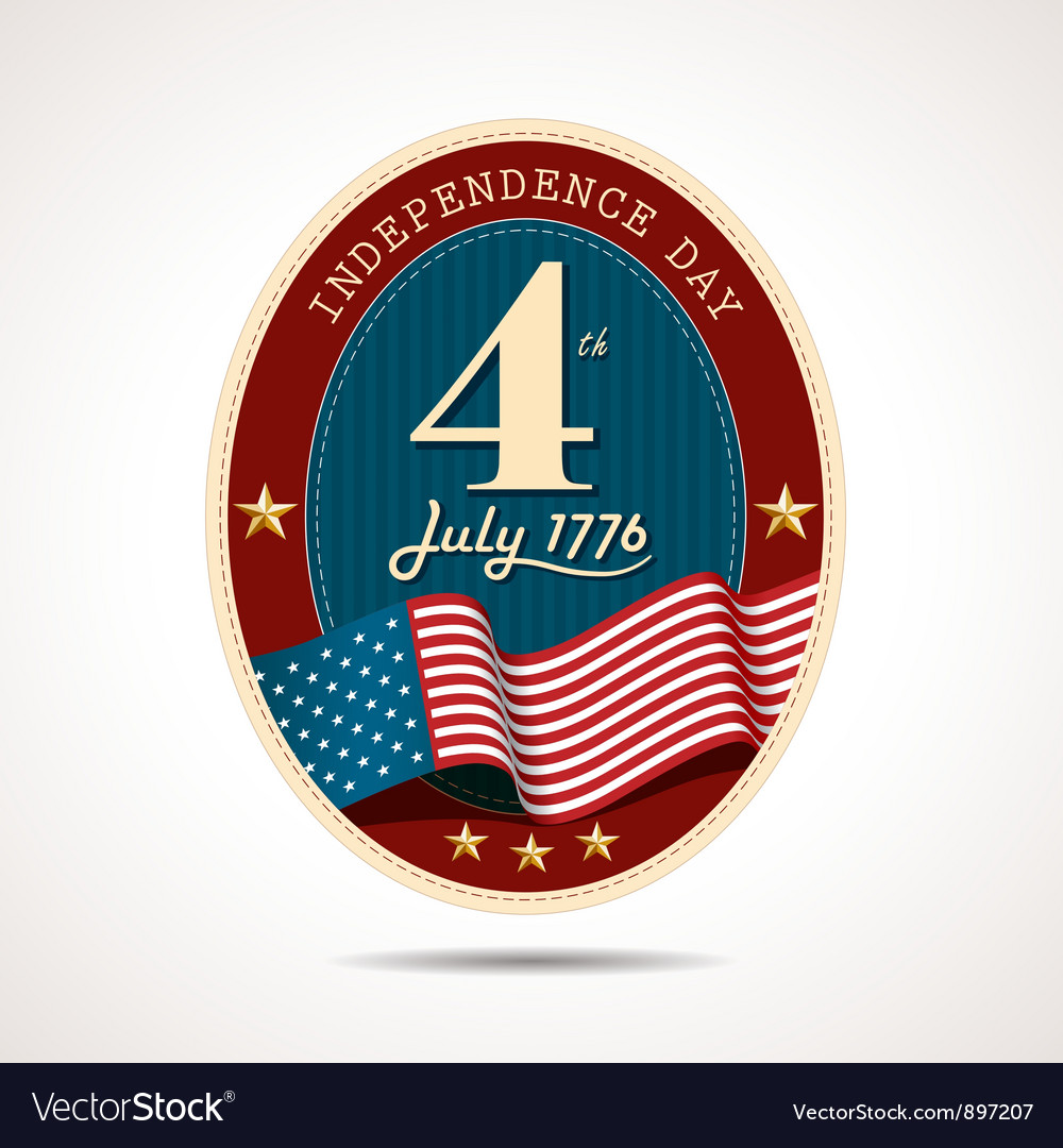 Independence day label retro background vector | Price: 1 Credit (USD $1)