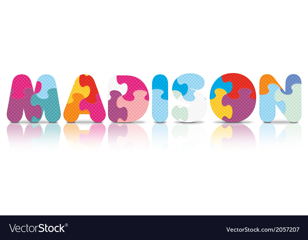 Madison written with alphabet puzzle vector | Price: 1 Credit (USD $1)