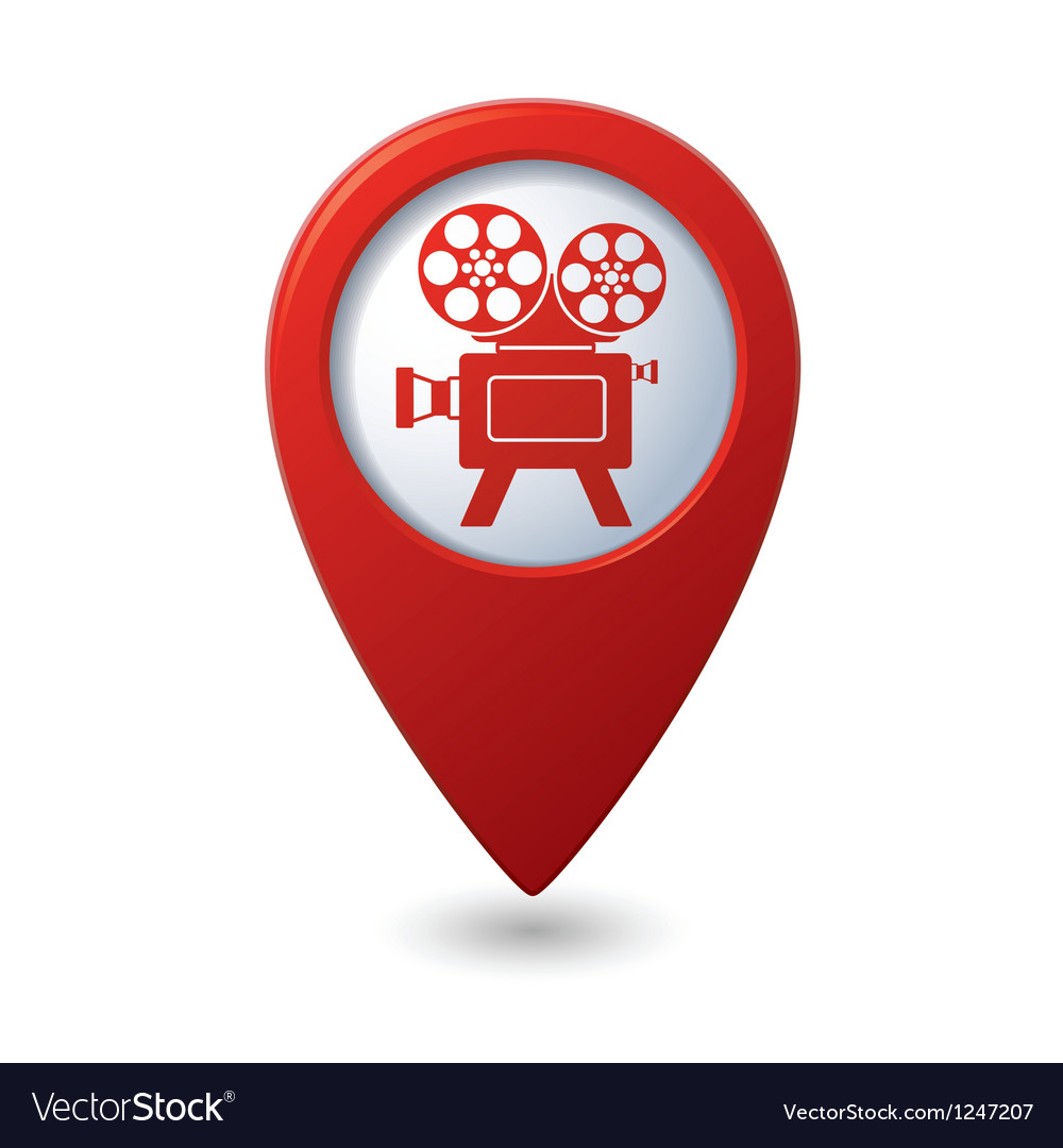 Map pointer with cinema icon vector | Price: 1 Credit (USD $1)