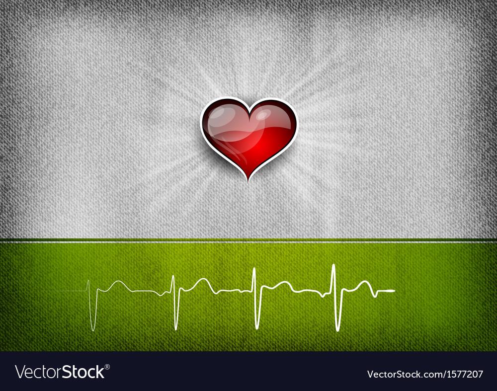 Medical cardio heart grey green vector | Price: 1 Credit (USD $1)