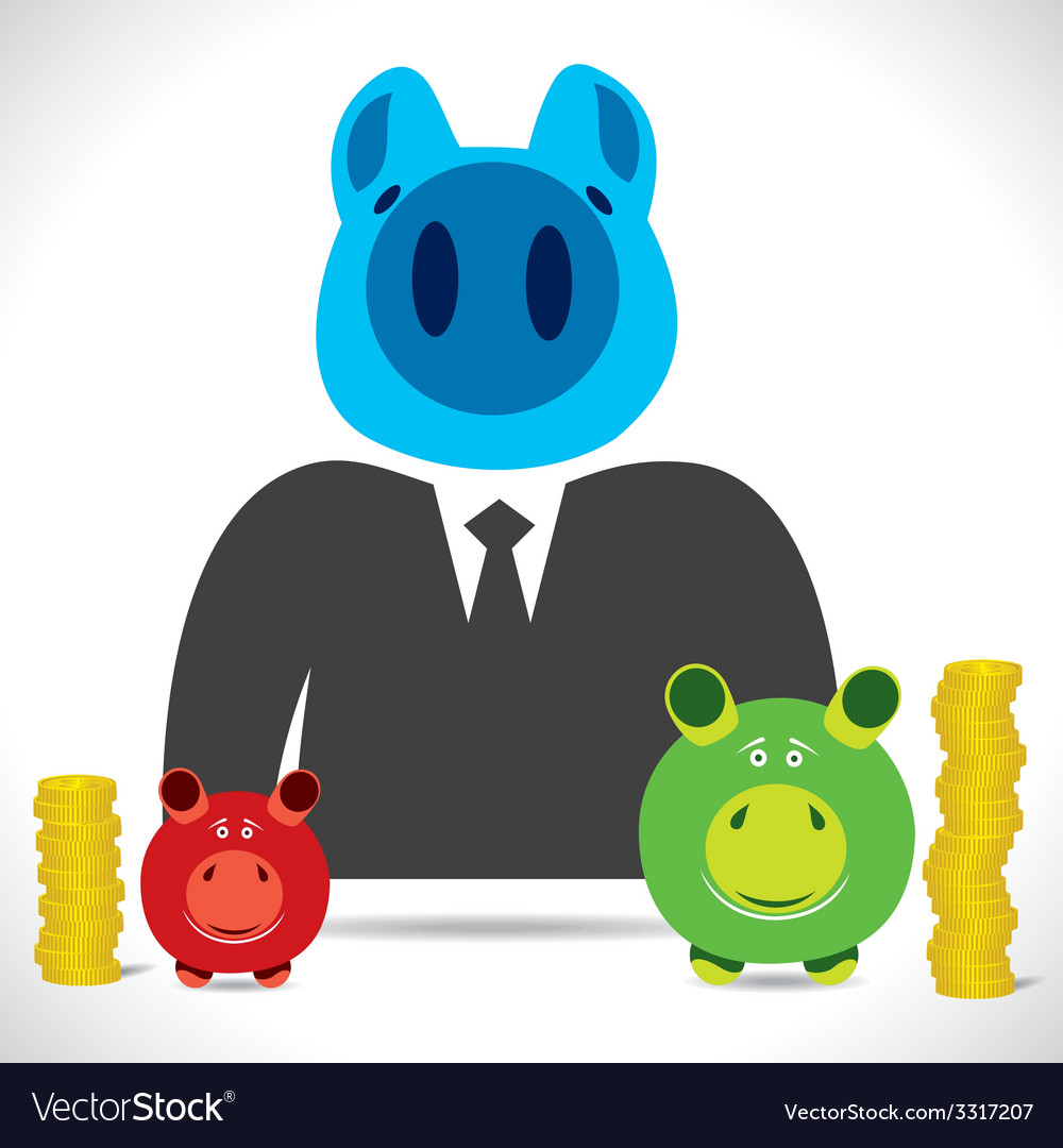 Piggy businessmen with saving vector | Price: 1 Credit (USD $1)