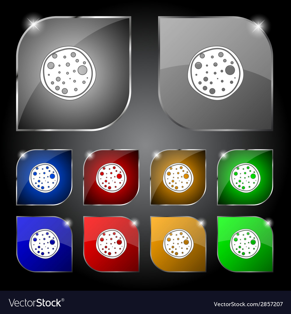 Pizza icon set colourful buttons sign vector | Price: 1 Credit (USD $1)