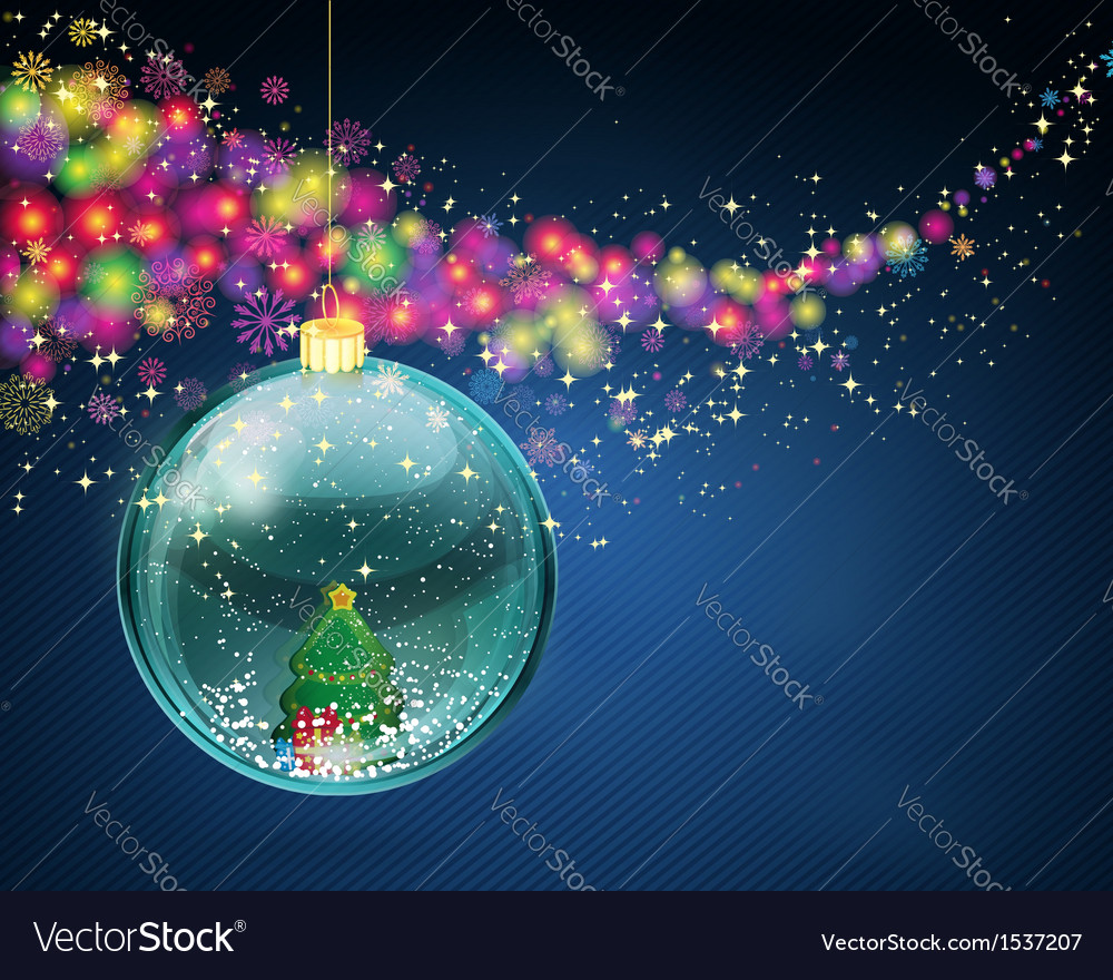 Snow ball with christmas tree and presents vector | Price: 1 Credit (USD $1)